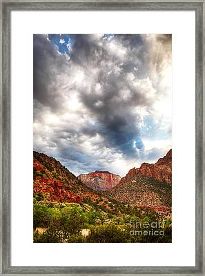 Stormy Skies In Zion Hdr Framed Print by Jane Rix