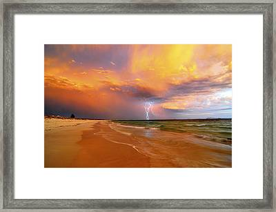 Stormy Skies - Lightning Storm In Esperance Framed Print by Sally Nevin