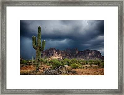 Stormy Skies Over The Superstitions Framed Print