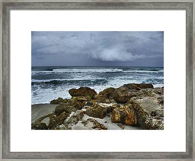 Stormy Sky And Ocean Waves Framed Print by Julie Palencia