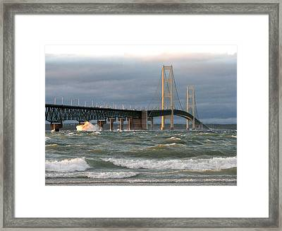 Stormy Straits Of Mackinac Framed Print by Keith Stokes