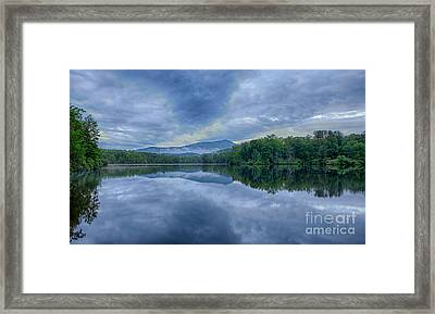 Stormy Sunrise Over Price Lake - Blue Ridge Parkway I Framed Print by Dan Carmichael