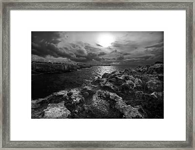 Blank And White Stormy Mediterranean Sunrise In Contrast With Black Rocks And Cliffs In Menorca  Framed Print