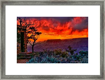 Stormy Sunset At The Watchtower Framed Print