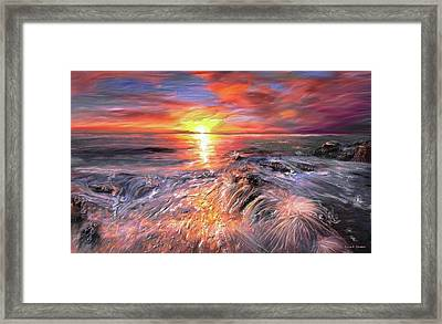 Stormy Sunset At Water's Edge Framed Print by Angela A Stanton