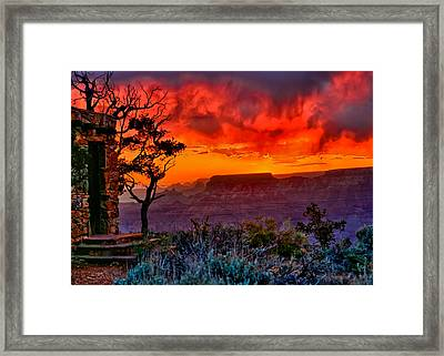 Stormy Sunset Greeting Card Framed Print by Greg Norrell