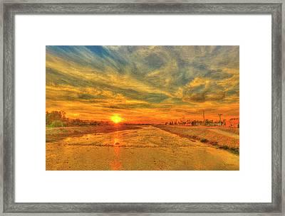 Stormy Sunset Over Santa Ana River Framed Print