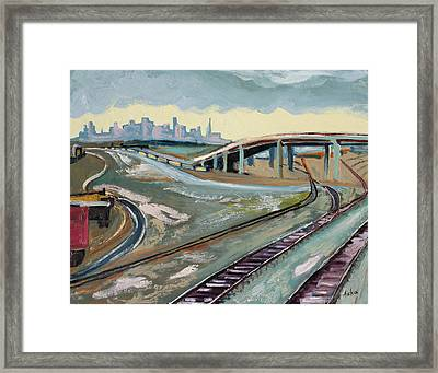 Framed Print featuring the painting Stormy Train Tracks And San Francisco  by Asha Carolyn Young