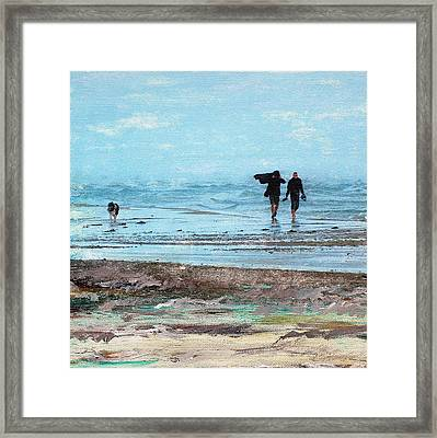 Stormy Walk At Grenen Square Framed Print