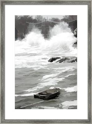 Framed Print featuring the photograph Stormy Waves Pound The Shoreline by Jeff Folger