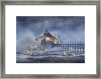 Stormy Weather At The Grand Haven Lighthouse Framed Print by Randall Nyhof