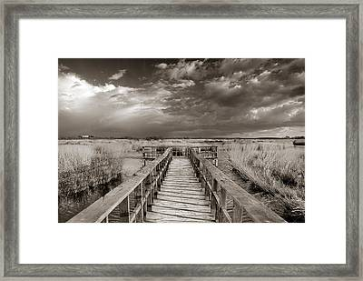 Stormy Weather At The Lake Vintage Framed Print by Guido Montanes Castillo