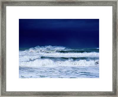 Stormy Weather Generates Heavy Surf Framed Print by Robert L. Potts