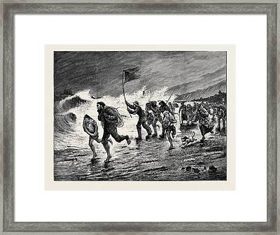 Stormy Weather  Making Signals To The Wreck Framed Print by English School