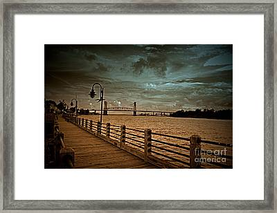 Stormy Wilmington Riverwalk  Framed Print