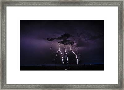 Stormy Wind Farm Framed Print