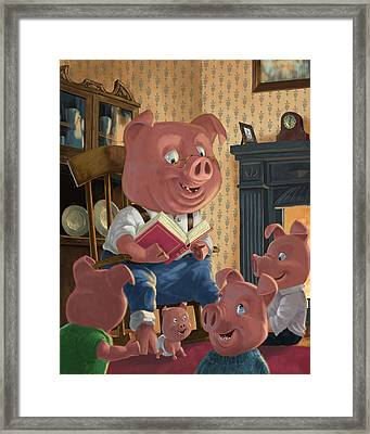 Story Telling Pig With Family Framed Print by Martin Davey