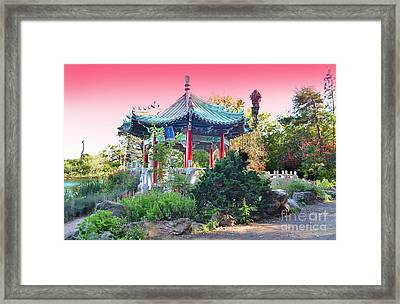 Stow Lake Pagoda In Golden Gate Park In San Francisco Framed Print by Jim Fitzpatrick