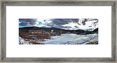Stowe Vermont Winter Scene Panoramic Framed Print