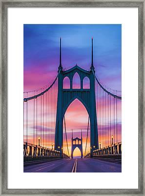 Straight Down The Bridge Framed Print by Lori Grimmett