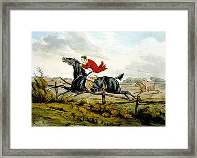 Straight Through The Fence From Qualified Horses And Unqualified Riders Framed Print by Henry Thomas Alken