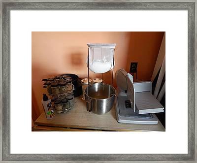 Straining Kefir Framed Print by Aliceann Carlton