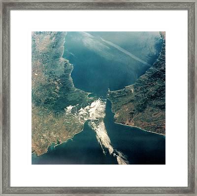 Strait Of Gibraltar Framed Print by Nasa/science Photo Library