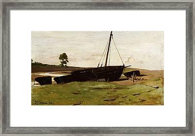 Stranded Boats Porlock Weir Framed Print