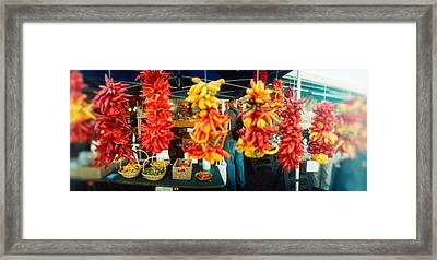 Strands Of Chili Peppers Hanging Framed Print