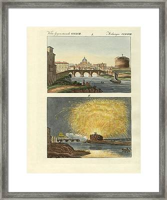 Strange Buildings In Rome Framed Print by Splendid Art Prints