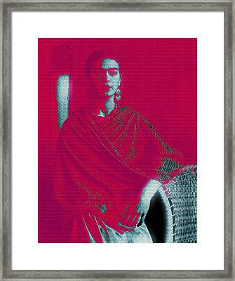 Framed Print featuring the mixed media Strange Frida by Michelle Dallocchio