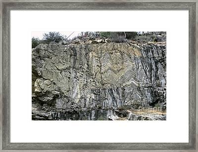 Strata Of Metamorphic Rocks Framed Print