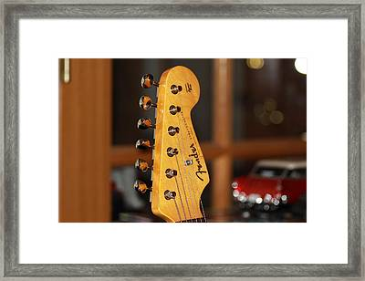 Framed Print featuring the photograph Stratocaster Headstock by Chris Thomas