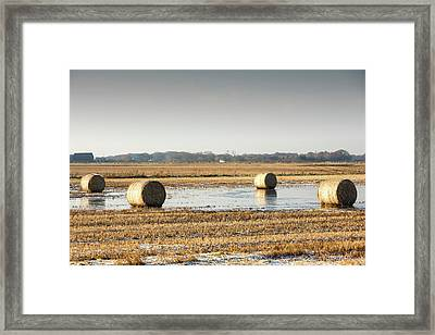 Straw Bales On Flooded Field Framed Print