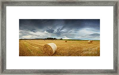 Straw Bales Pano Framed Print by Jane Rix