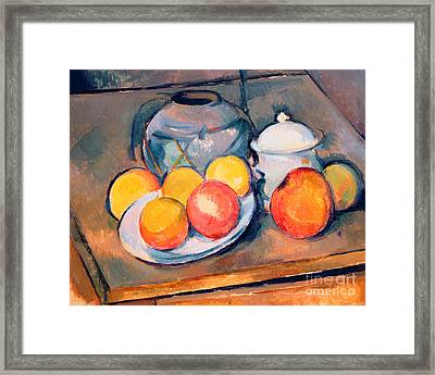 Straw Covered Vase Sugar Bowl And Apples Framed Print by Paul Cezanne