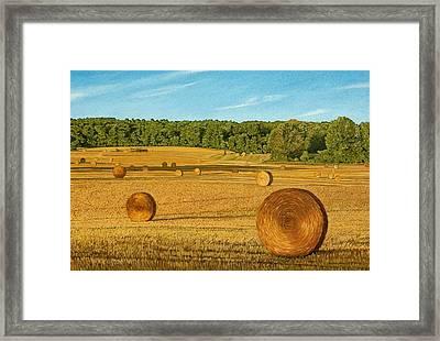 Straw Wheels - North Pickering Framed Print by Allan OMarra