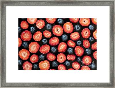 Strawberries And Blueberries Framed Print
