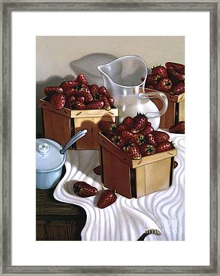 Strawberries And Cream 1997 Framed Print by Larry Preston