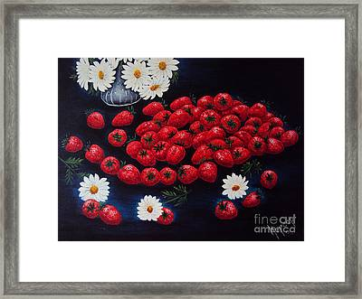 Strawberries And Daisies Original Painting Oil On Canvas Framed Print by Drinka Mercep