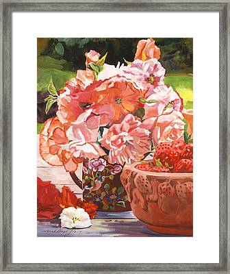 Strawberries And Flowers Framed Print by David Lloyd Glover