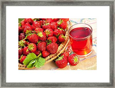 Red Strawberries In Basket And Juice In Glass  Framed Print by Arletta Cwalina
