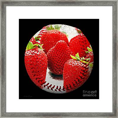 Strawberries Baseball Square Framed Print by Andee Design