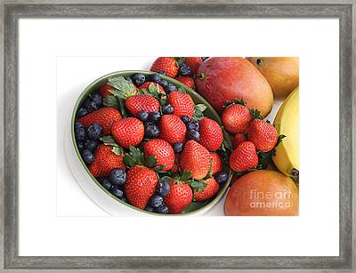 Strawberries Blueberries Mangoes And A Banana - Fruit Tray Framed Print by Andee Design