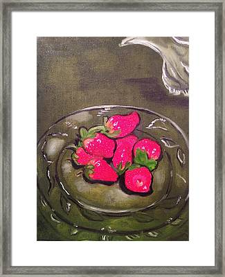 Framed Print featuring the painting Strawberries by Brindha Naveen