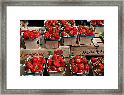 Strawberries For Sale At Weekly Market Framed Print by Panoramic Images