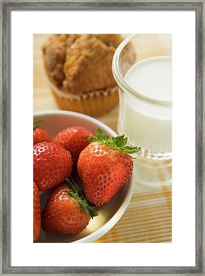 Strawberries, Glass Of Milk And Muffin For Breakfast Framed Print