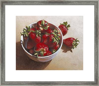 Strawberries In China Dish Framed Print by Timothy Jones