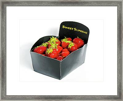 Strawberries In Display Carton Framed Print by Ian Gowland