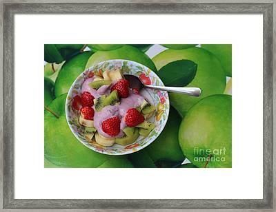 Strawberries Kiwi Banana Yogurt - Fruit - Dessert - Food Framed Print by Barbara Griffin